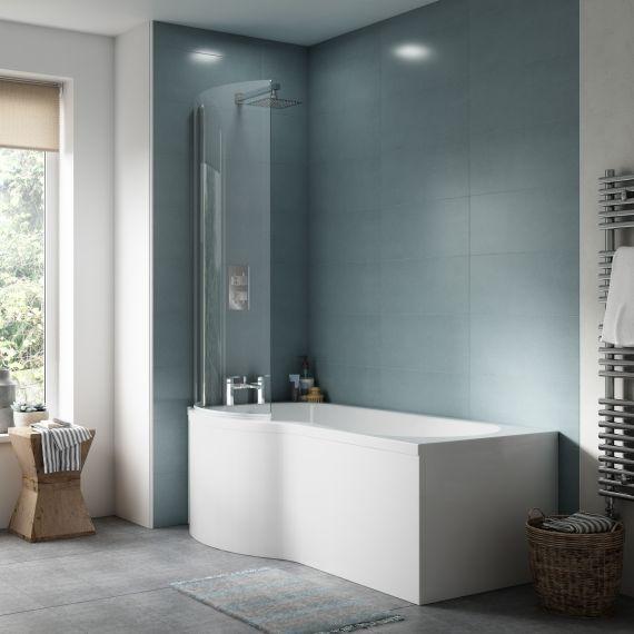 Nuie 1700mm Left Hand P-Shaped Bath Set