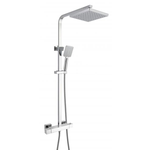 Cool Touch Square Thermostatic Shower Column with Fixed Head and Shower Kit (WRAS)
