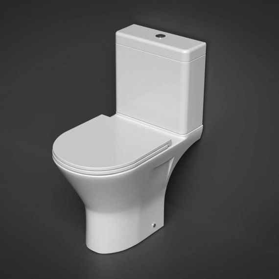 RAK Resort Maxi Close Coupled Full Access Rimless Toilet with Sandwich Soft Close Seat