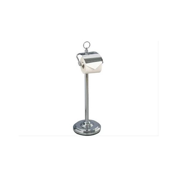 Miller Free Standing Chrome Paper Roll Holder with Lid