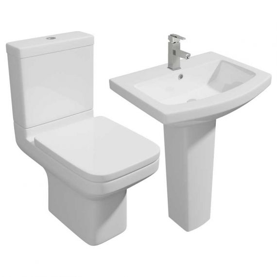 Kartell Trim 4 Piece Set Inc Close Coupled Toilet S/C Seat and 550mm Basin