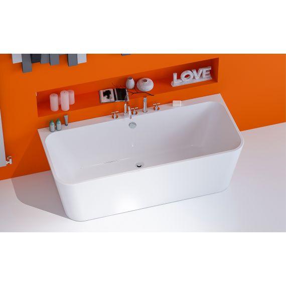Ravine 1500 x 750mm Small Back To Wall Modern Square Bath