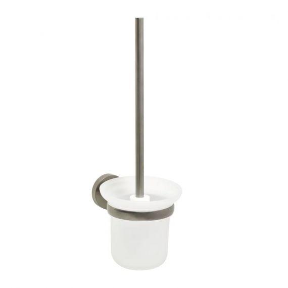 VOS brushed black toilet brush holder