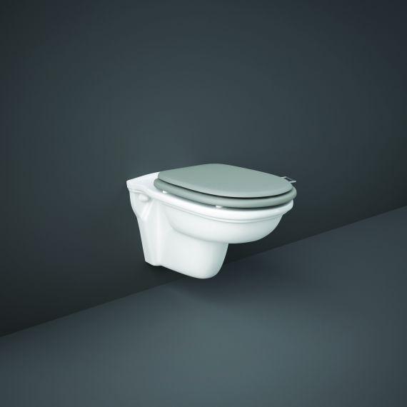 RAK-Washington Rimless Wall Hung Pan with Matt Grey Soft Close Seat (Wood)